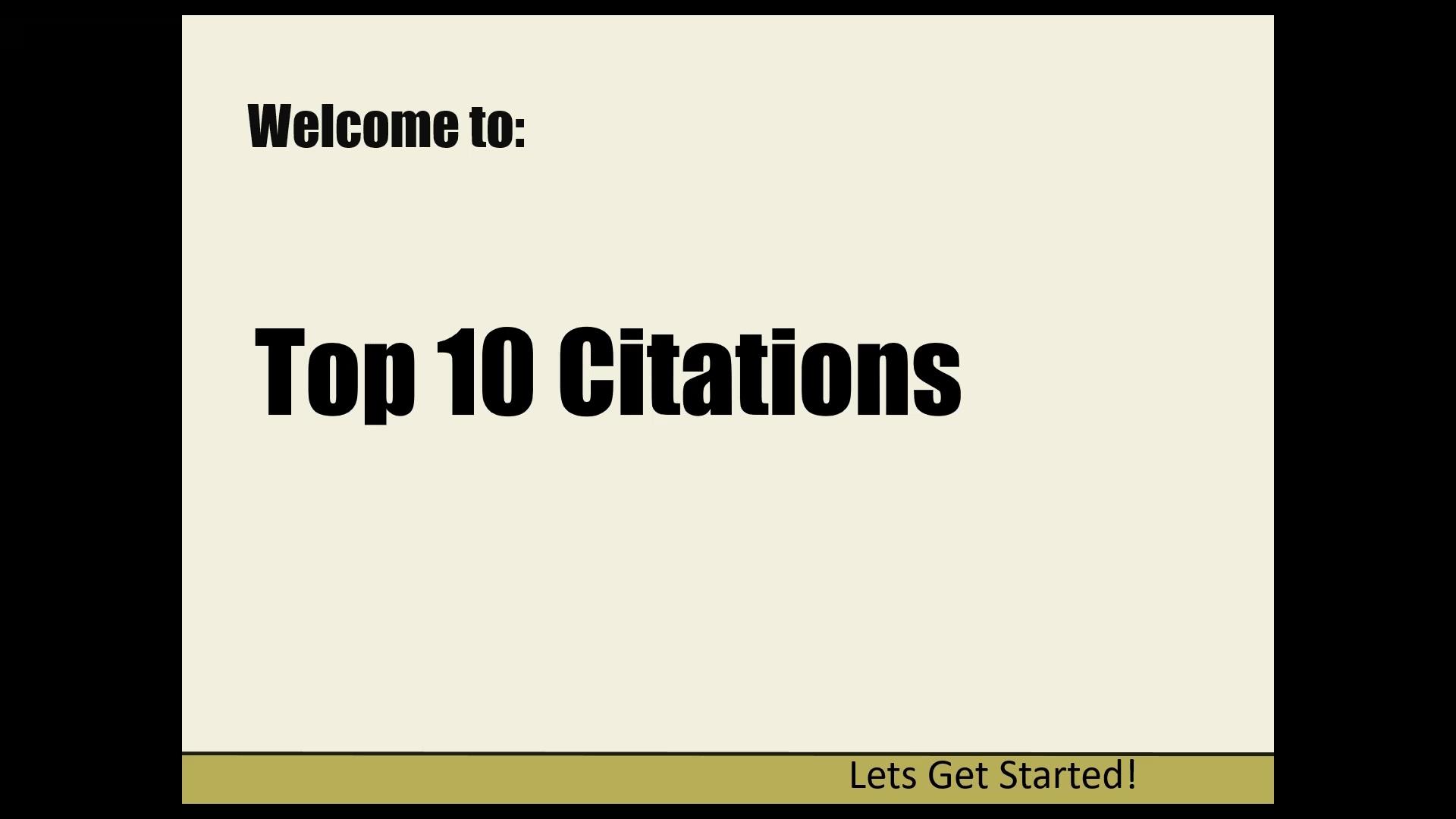 Top Ten Citations - Title Frame