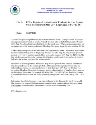 thumbnail of COVID Disinfectant – 03-03-2020 – EPA
