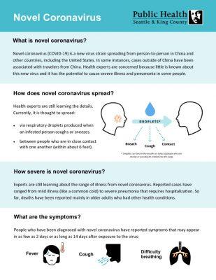 Novel Coronavirus Fact Sheet – King County